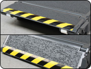 Approach ramps can be raised and used to extend the surface length of the lifting pads.