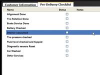 Vehicle Pre-Delivery Checklist
